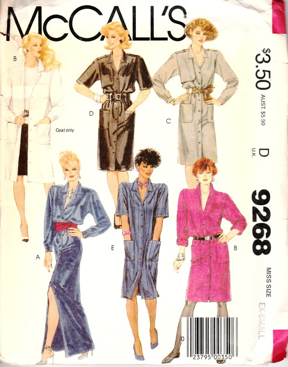 1980s Sewing Patterns, Coat Dress Pattern, Shirt Dress Pattern, 80s Cocktail Dress, Shoulder Pads, Long Short Sleeves, McCalls 9268, XSmall