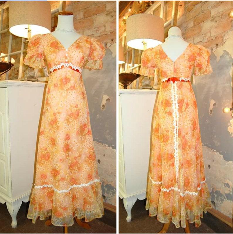 828e2937b5e 1970s Vintage Maxi Dress 70s Bridesmaid Dress Orange