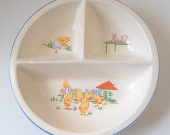 Vintage Baby Dish, Baby Chicks Scene, Farm House, 1950s Ceramic 3 Part Bowl, Gift for Baby, Shower Gift, Antique Childrens Plate, Baby Decor