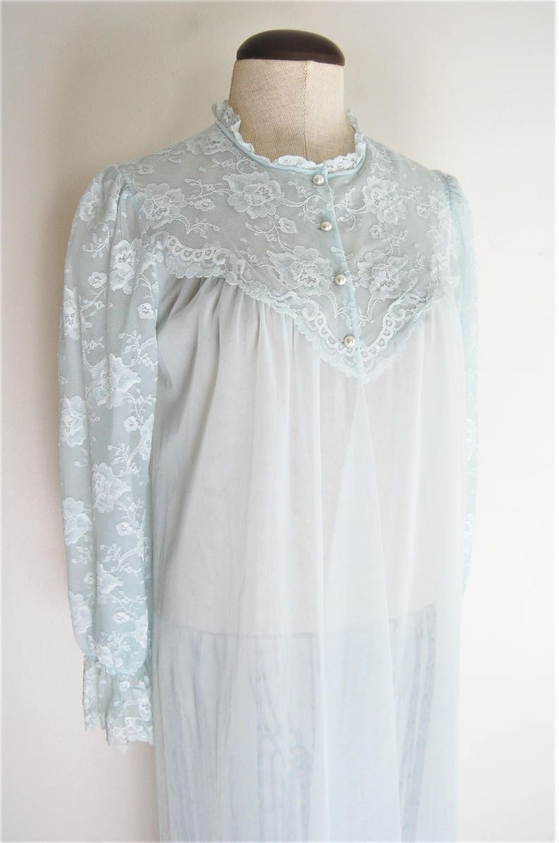 2ca9e6f320e 1960s Vintage Lingerie Peignoir Light Blue Sheer Lace Long