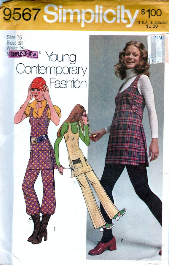 1970s Sewing Patterns Bohemian 70s Tunic Scoop Neck Wide