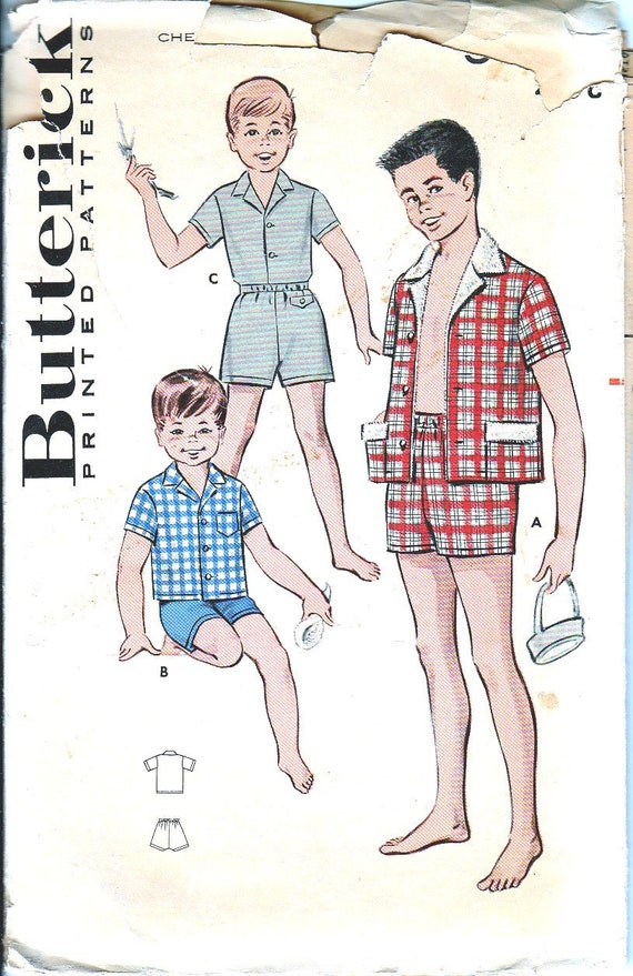 1950s Sewing Patterns Boys Sportswear Boxer Shorts Bathing | Etsy