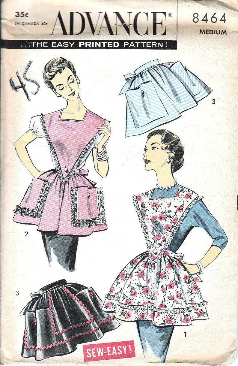Patrons de couture vintage, années 1950 tablier, Tablier bavette 50 \' s,  tablier, Med, taille froncée jupe, en V devant, poches, tablier classique,  ...