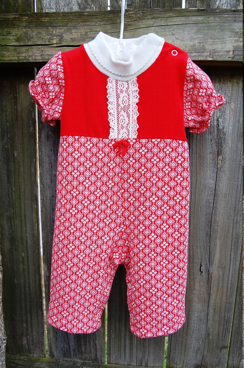 760231787 Vintage Baby Clothes 70s Baby Clothes Red White Jumpsuit