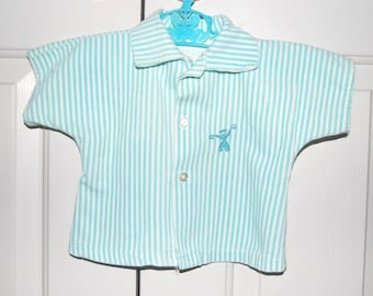 Vintage Baby Clothes, Baby Boys Outfit, 2 Piece Set, Corduroy Top, Aqua White Stripe, Sailor Suit, Plastic lined Diaper Cover, Baby Boy Gift