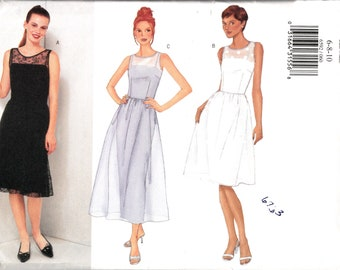 Dress Sewing Pattern, A Line, Sheer Overlay, Over Dress, Sleeveless, Fitted Bodice, 2 Lengths, Formal, Bridal, Butterick 6592, X Small Uncut