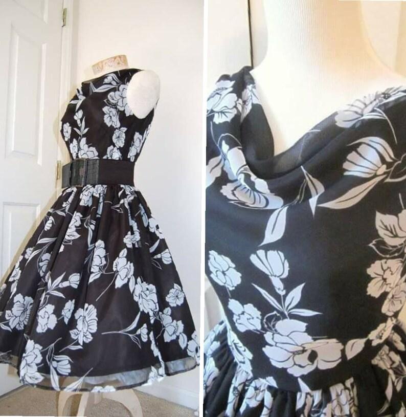 1ee081469cbb SALE 1960s Vintage Style Dress Audrey Hepburn Black White | Etsy