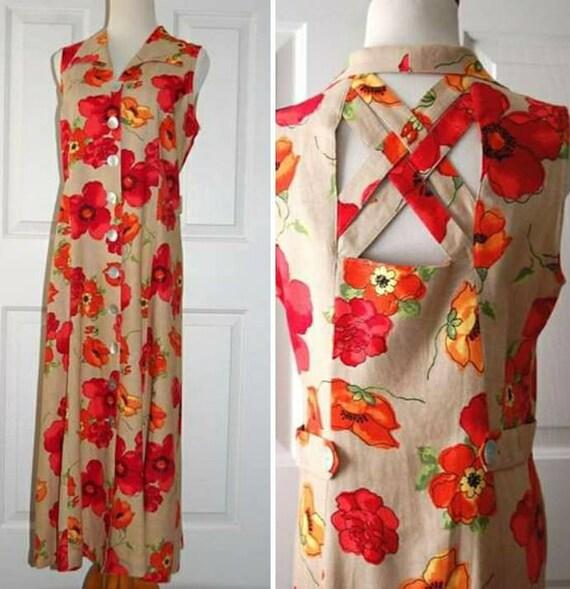 UK Size 8-10 cottagecore floral shirtdress Vintage 1990/'s floral dress 90/'s grunge dress