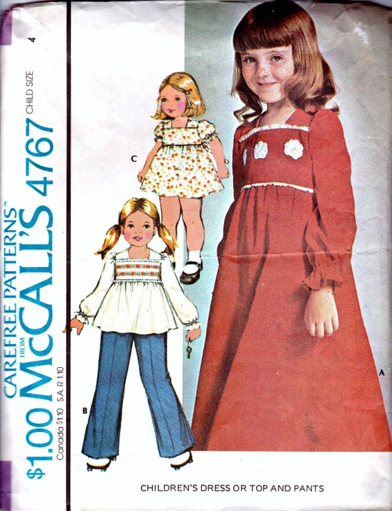 Vintage Sewing Patterns 1970s Girls Bohemian Clothes DIY | Etsy