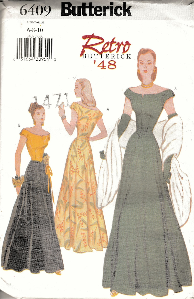 81cb705e41 1940s Sewing Patterns Womens Gown Re Printed 40s Clothing