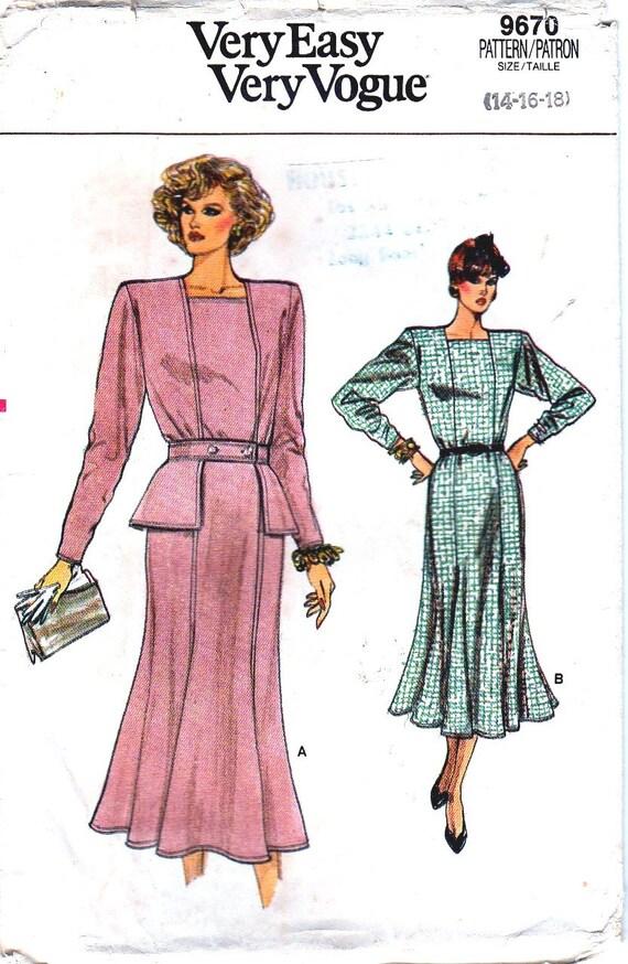 Vintage Vogue Schnittmuster 1980er Jahre Kleid ausgestattet | Etsy