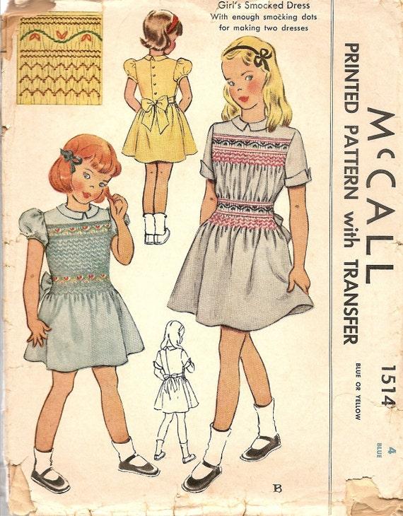 1940s Vintage Sewing Patterns Girls Smocked Dress Childs | Etsy