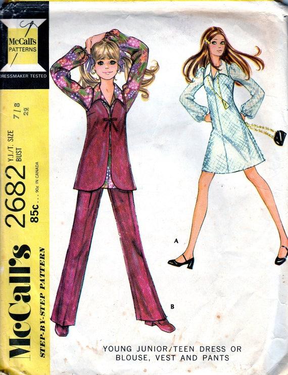1970er Jahre Mini-Kleid Schnittmuster XS Junior Jugendliche | Etsy