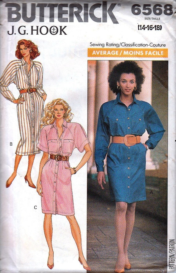 Vintage Sewing Patterns, 80s Shirt Dress, Loose Fit, Shoulder Pads, Long Short Sleeves, Pockets, Small, Bust 34, Trending Butterick 6568