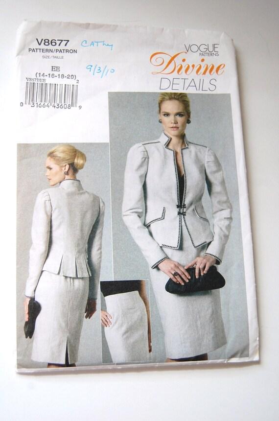 Vogue Sewing Pattern Misses Jacket Raised Waistline Skirt Etsy