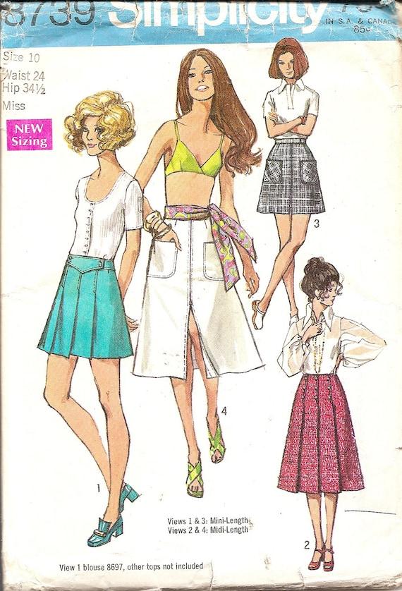 1970s Vintage Sewing Patterns 70s Skirt Pattern Mini Skirt Etsy