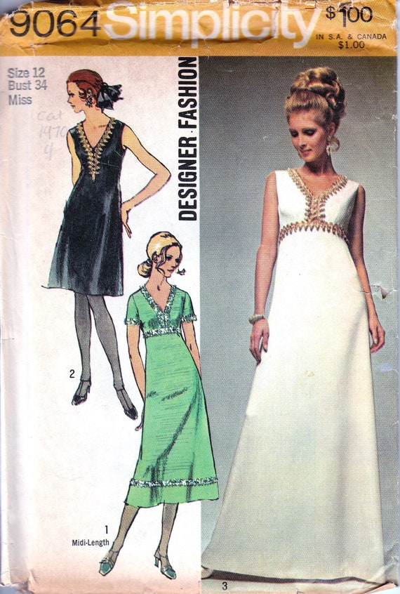 fc94839115f 1970s Vintage Sewing Pattern 70s Evening Gown Grecian Style | Etsy