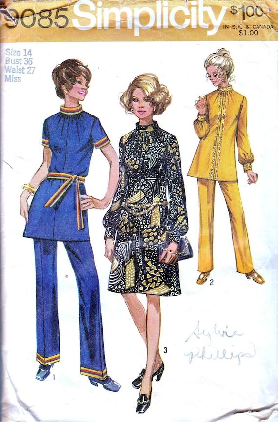 1970er Jahre Muster Damen Kleid Tunika Hose Hohe Taille Etsy