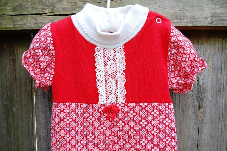1310aaf9031c Vintage Baby Clothes 70s Baby Clothes Red White Jumpsuit