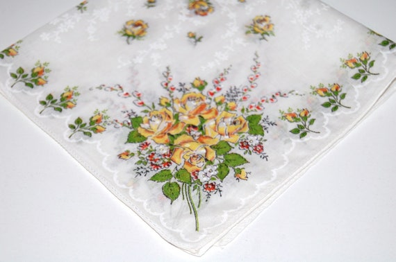 Vintage Yellow Bouquet Handkerchief
