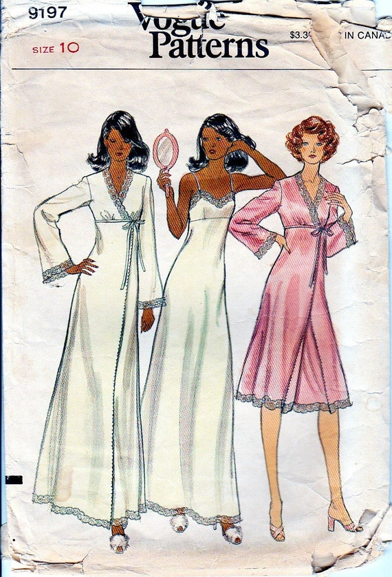 50fcd1b6b7 1970s Lingerie Sewing Pattern Vintage Vogue 9197 Nightgown