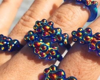 Rainbow Aura Glass Dots Ring - Cobalt Blue