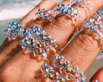 Rainbow Aura Glass Dots Ring - Clear