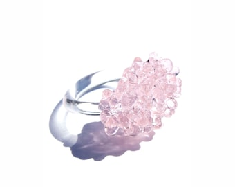 Glass Cluster Ring - Baby Pink