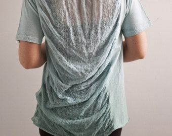 SALE - One of a Kind - Shredded T-Shirt in Sage Dip Dye.