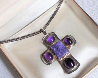 Native American Artist Sterling Amethyst Cross - Signed, VY, WWS, Artist, Sterling Silver,, 925