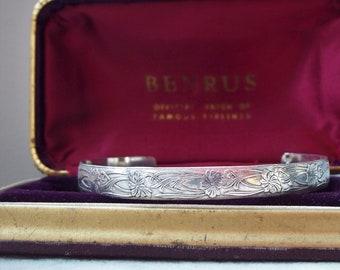 Vintage Art Nouveau 1940\u2019s Costume Silver Tone Fashion Statement Bracelet