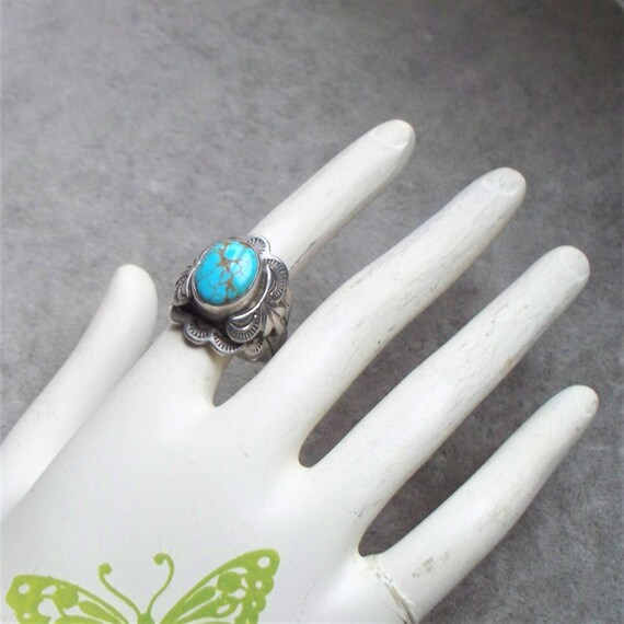 Carol Felley Sterling & Turquoise Ring - Size 8, S
