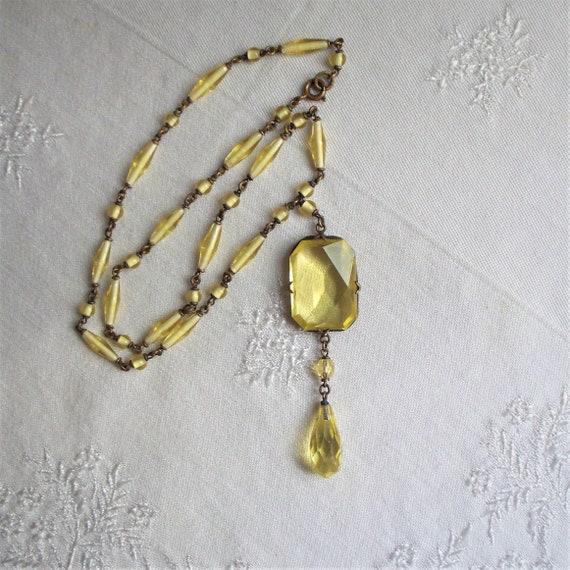 Edwardian Czech Lavalier Glass Necklace - Antique