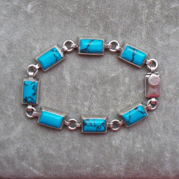 Taxco Sterling Turquoise Bracelet - Turquoise, Ste