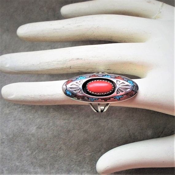Native American Coral Turquoise Shadow Box Ring -