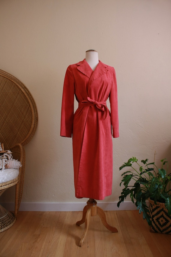 Pink suede Womens trench coat - image 2