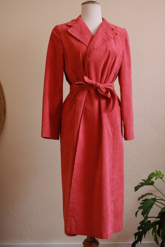Pink suede Womens trench coat - image 3