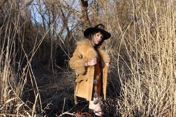 Vintage penny lane leather suede fur coat