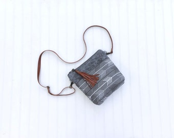 Small Gray Waxed Canvas Arrow Print Cross Body Purse, Shoulder Bag