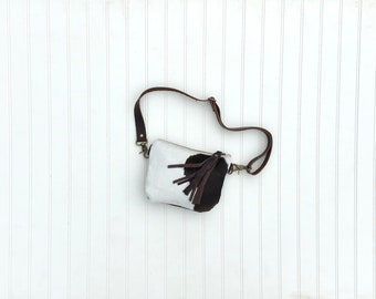 Brown, Black & White Hair On Cowhide Fanny Pack, Belt Bag, Hip Bag