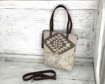 Large Neutral Waxed Linen Tote Made With Pendleton® Wool