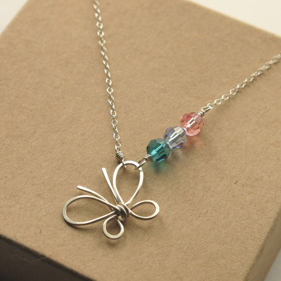 Butterfly Necklace Thyroid Cancer Necklace Survivor Cause Etsy