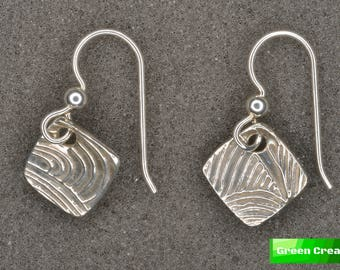 Textured Metal Clay Earrings - Concentric .999 and .925 Silver