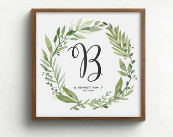 Family name print, first anniversary gift, family monogram print, custom home decor, housewarming gift, modern farmhouse wall decor,unframed