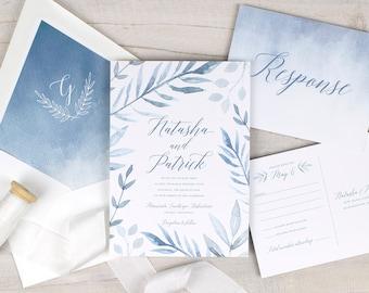 dusty blue wedding invitations, rustic wedding invitations, spring wedding invitations, boho wedding invitations, light blue watercolor
