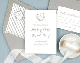 monogram crest wedding invitations classic gray wedding invitation suite greenery crest invitation sets elegant printed invitations
