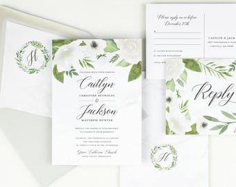 white floral wedding invitation set classic wedding invitations greenery wedding invitations floral wedding printed invitations