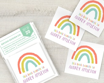 kids custom book labels, childrens bookplate stickers, rainbow bookplates, set of 20, book club gift, gift for book lover, gift for teacher