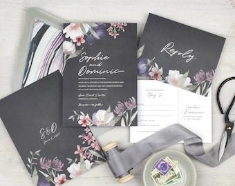 moody wedding invitation boho wedding invitation dusty purple wedding invitation set floral wedding invitations mauve floral invite