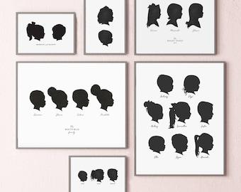 silhouette portraits, multiple silhouettes, custom family art, gift for grandparents, family keepsake print, gift for mom, christmas gift